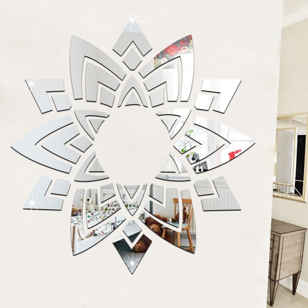 Fleur ornée décorative 3d acrylique miroir Stickers muraux autocollants plafond salon chambre décor chambre décoration Stickers - 3