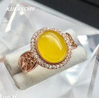 KJJEAXCMY Fine Jewelry Wholesale Colorful Jewelry Hand Ornaments 925 Silver Inlaid Natural Topaz Pith Ring Female