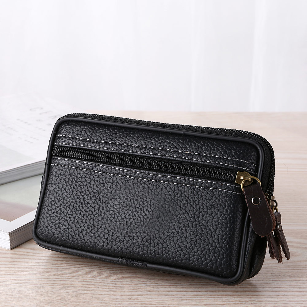 Man Multi Function Mini Waist Bag Pu Leather Double Layer Zipper Phone Card Bag New