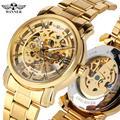 Роскошные мужские скелетоны прозрачные автоматические механические часы золотые пятна стальной ремешок часы для подростков часы подарок ...
