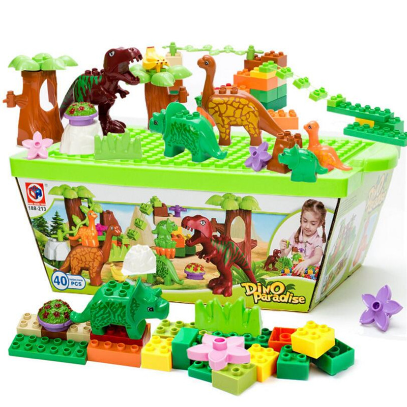 40Pcs/Lot Jurassic World Large Particles Animal Model Toys Dino Valley Building Blocks Bricks Sets Bricks Duploe Without Box without original box bang bao fight inserted building blocks toys concrete mixing small particles base 8531 808pcs abs plastic