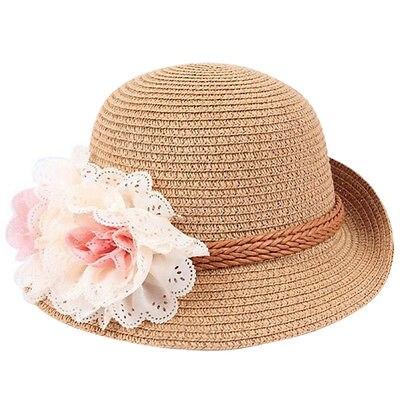 Детская пляжная соломенная шляпа от солнца с цветами для маленьких девочек