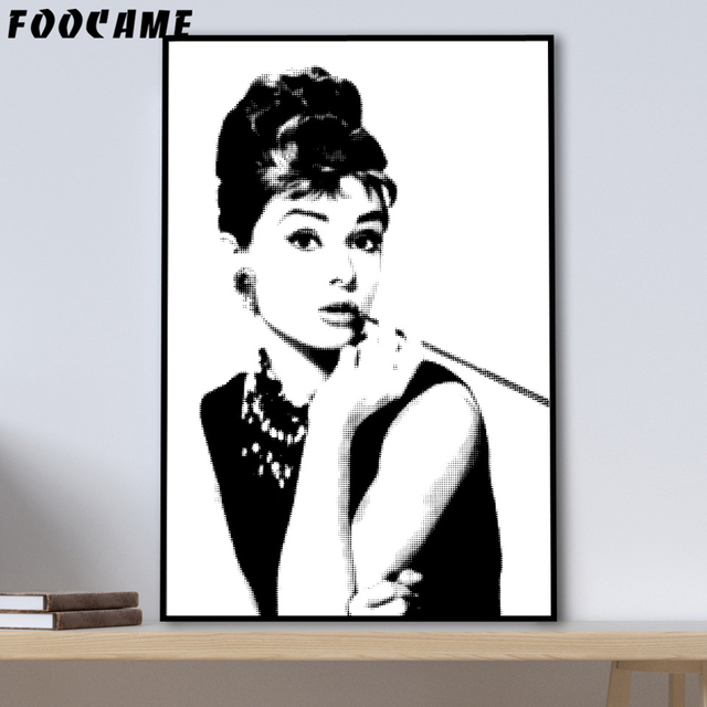 FOOCAME Audrey Hepburn Style Pop Abstract Posters And Prints Art Canvas Painting Modern Home Decor Wall