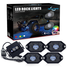 MICTUNING 4 Pods Car RGB LED Rock Decorative Light w/ Bluetooth APP Control Timing Function Music Mode Multicolor Neon Lamps Kit