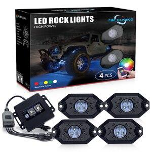 Image 1 - MICTUNING Kit de lampes néon multicolores pour voiture, 4 dosettes, RGB LED, décoration Rock, avec application Bluetooth, synchronisation, fonction musicale