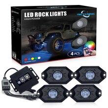 MICTUNING Luz LED decorativa Rock RGB para coche, 4 Pods, Control por aplicación Bluetooth, función de sincronización, modo de música, Kit de lámparas de neón Multicolor