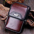 Men Fanny Pack Mobile Phone Bags Brown Black PU Leather Zipper Coin Purse Burse  Bag Waist Packs Casual Man Purses