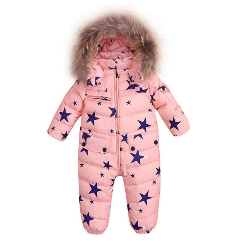 Baby Romper Thermal Duck Down Winter Snowsuit Natural Fur Hooded Jumpsuit Newborn Baby Boy Girl Winter Climb Clothes Ski Suit габаритные огни oem t10