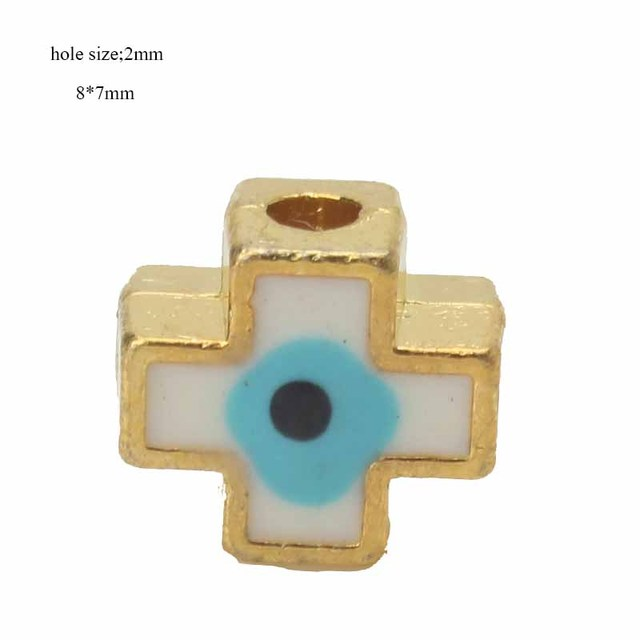 10pcs/lot 8*7mm Colorful Evil Eye Spaced Beads Alloy Cross Charms Hole Beads For Bracelet Necklace Fashion Jewelry Accessories