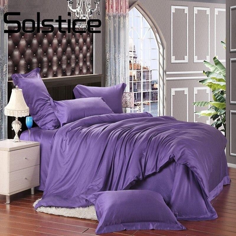 Solstice Домашний текстиль 2018 Pure Тенсел Стандартный фиолетовый роскошный Простыня Постельное белье Наборы для ухода за кожей King Queen Размеры