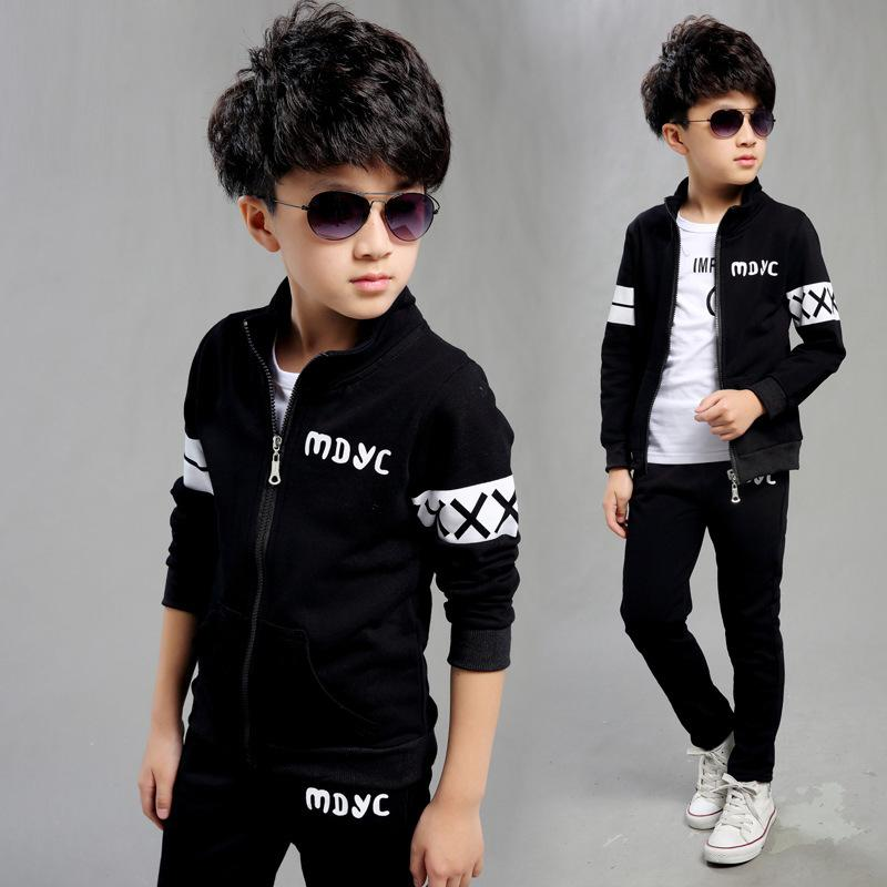 New Spring Autumn 2017 Baby Boys Clothing Set Black Boy Sports Suit Set School Children Outfits Tracksuit Clothes 5-15 Years spring children girls clothing set brand cartoon boys sports suit 1 5 years kids tracksuit sweatshirts pants baby boys clothes