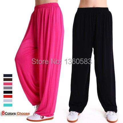 Высокое качество модальные брюки шаровары зима йога одежда тай-чи танец йога брюки кунг-фу запуск брюки мужчины и женщины