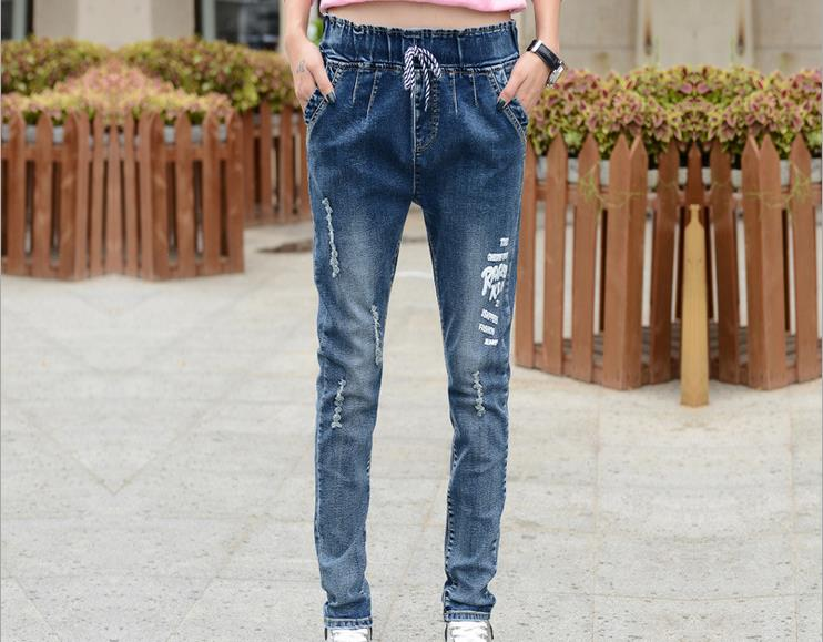 QA269 Spring summer new women ankle-length straight harem pants mid waist ripped loose fashion jeans plus size