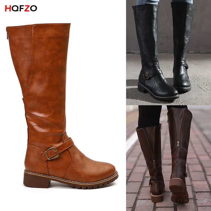 HQFZO PU Leather Women Long Boots Riding Casual Belt Buckle Zipper Autumn Winter Thigh High Loose Boots Botas Mujer FootwearHQFZO PU Leather Women Long Boots Riding Casual Belt Buckle Zipper Autumn Winter Thigh High Loose Boots Botas Mujer Footwear