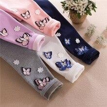 Spring Autumn Winter Baby Girls Leggings Flower butterfly Plush Warm Child Kids Legging Pants 2 3 4 5 6 7 8 9 10 11 12Years Old