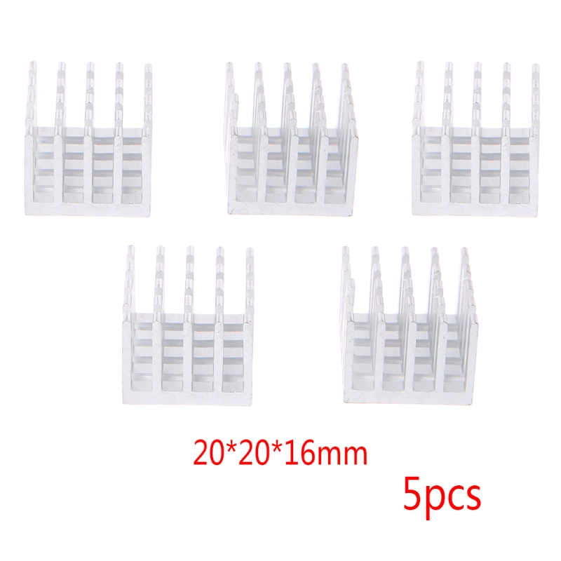 5 Pcs/Set 20*20*16mm/14*14*7mm Aluminum Heatsink Block Computer Electronic Chip Cooling