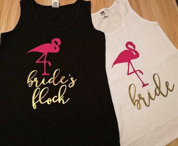 personlize Flamingo flock wedding Bride Bridesmaid tees tank tops singlets  Bachelorette t shirts gifts party favors decorations 647d412e6344