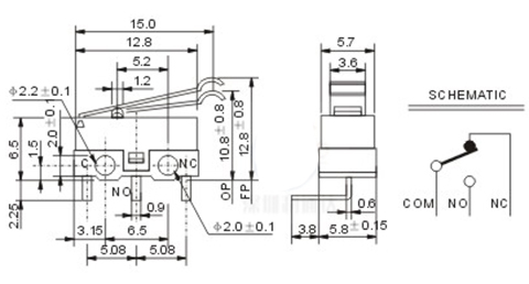 3D Printer Accessories 1A125VAC Endstop Straight Type концевой выключатель