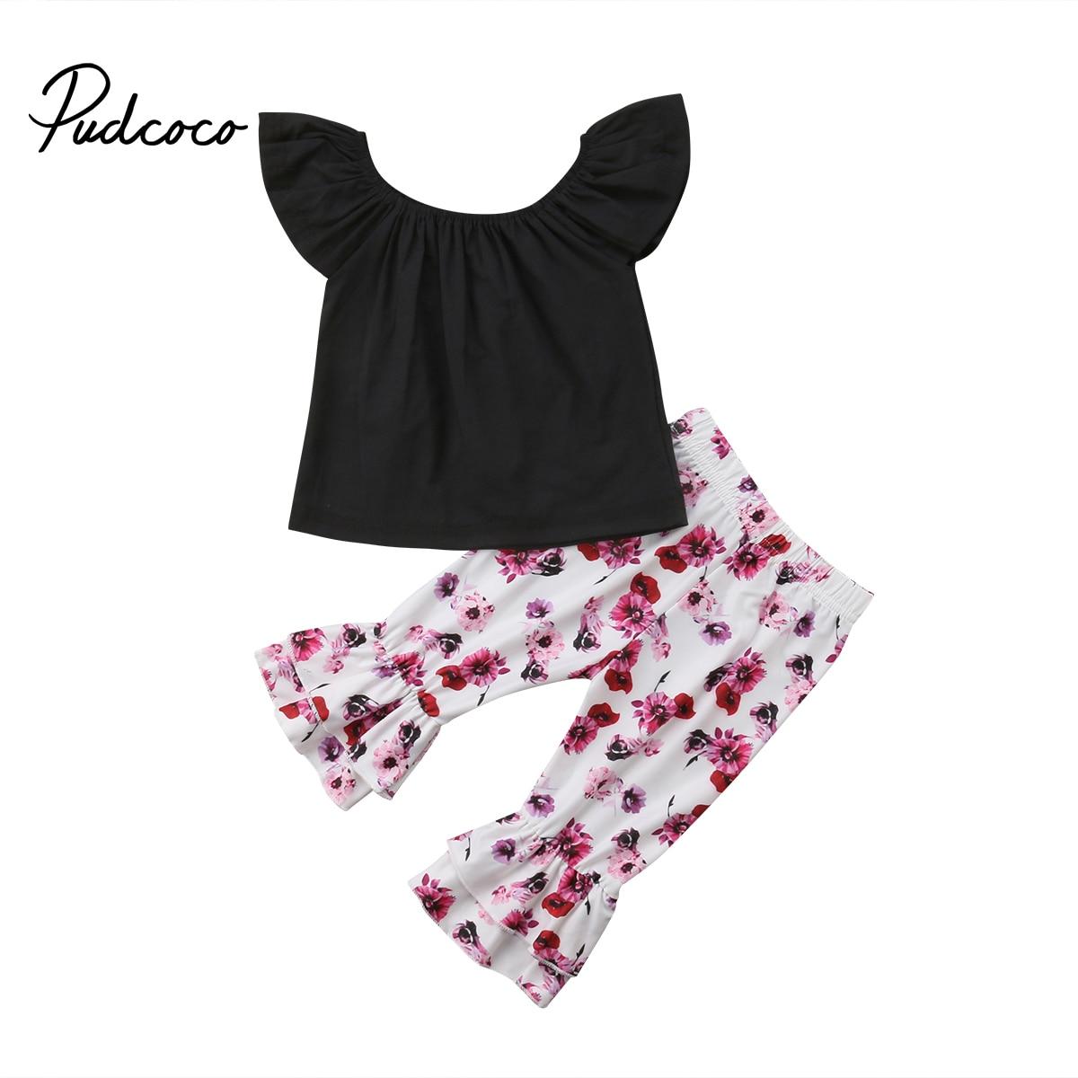 Newborn Kids Baby Girls Off Shoulder Tops T-shirt Floral Bell-bottomed Pants Children Clothes