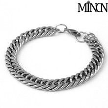 MINCN Mens Bracelets Silver Stainless Steel Curb Cuban Link Chain For Men Women Jewelry wrap mens bracelets 2019