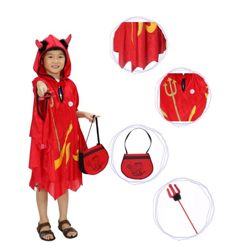 Halloween Costumes For Kids Horns Devil Cape Cloak Girl Boy Children's Halloween Costumes