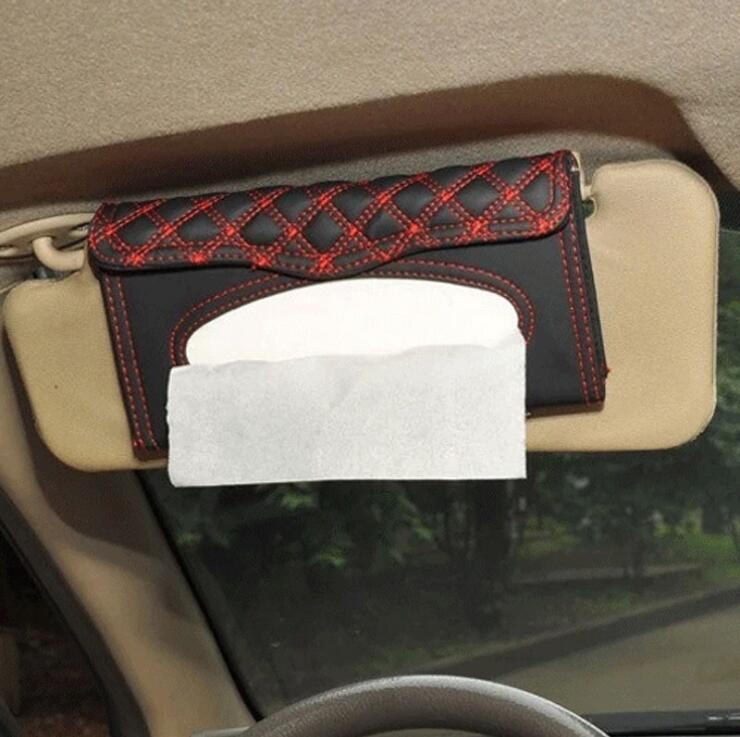 PU lather car sun visor tissue box holder black auto hanging pater towel case napkin Storage bag for car interior accessores