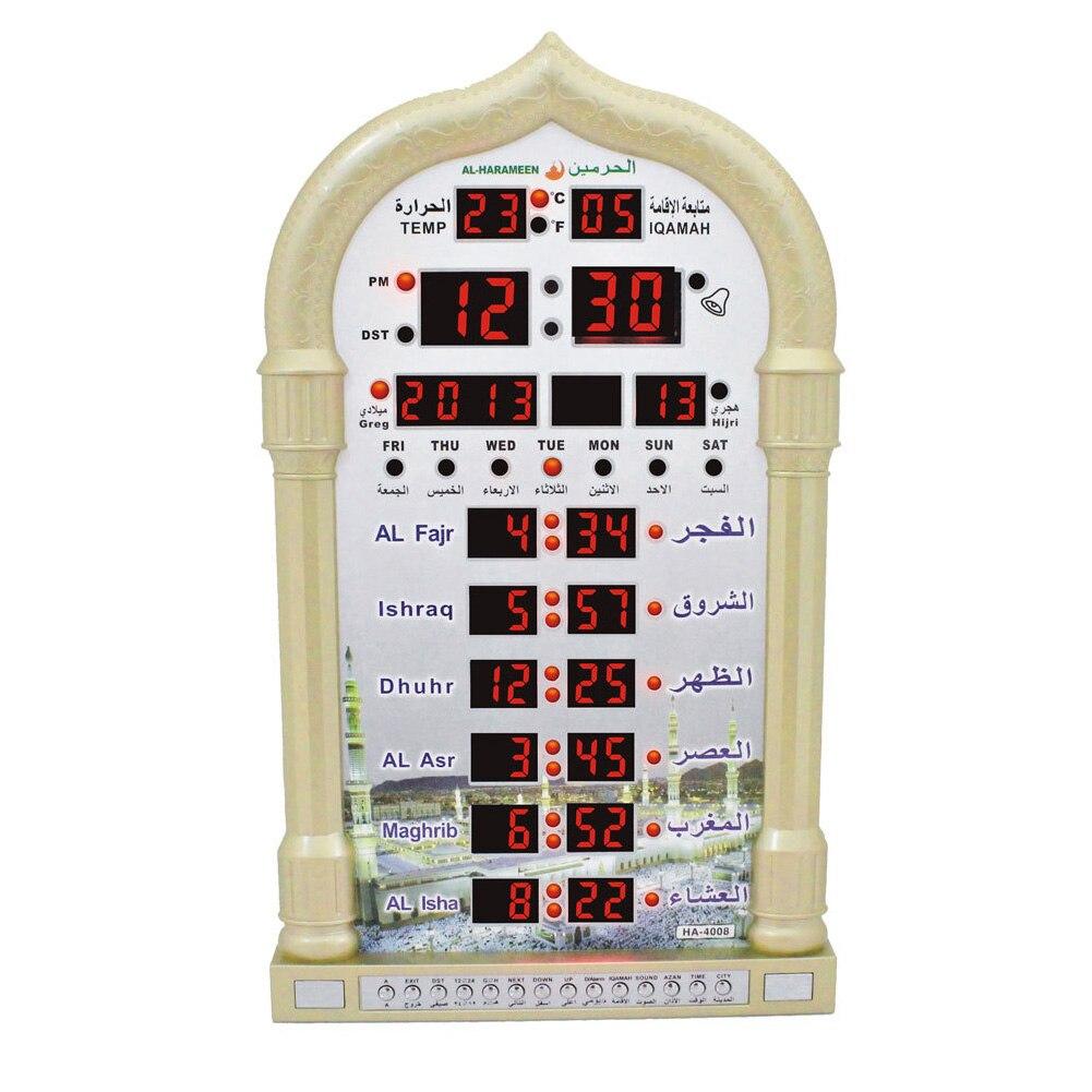 Tiempo de recuerdo regalo islámico automático Led musulmán oración decoración del hogar mezquita música Digital juego de mesa de pared reloj Azan Ramadan-in Relojes de mesa y de escritorio from Hogar y Mascotas    2