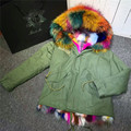 Красочные Миссис multi натурального меха фокс пальто женщин зима толстая пиджаки теплая куртка Енотовидная собака меховым воротником с капюшоном куртка