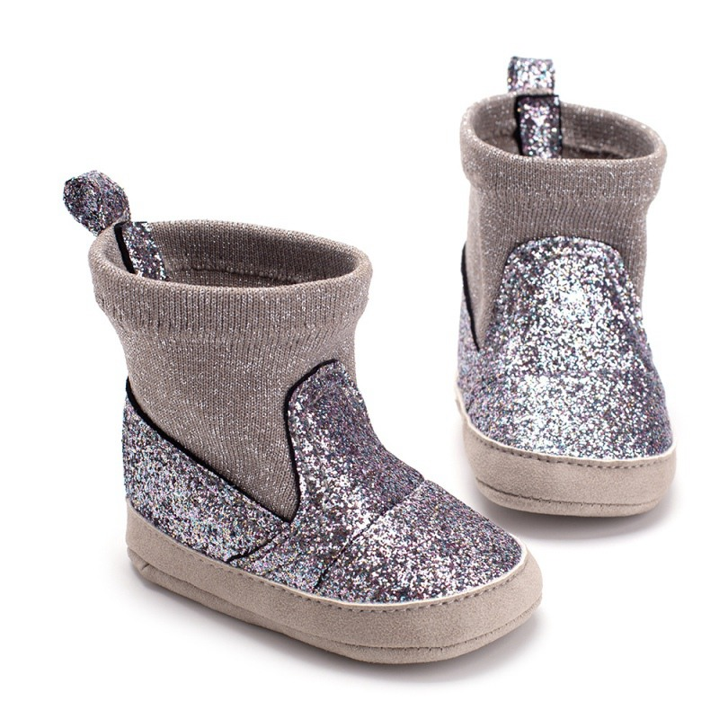 0-12M New Autumn Baby Girl PU Leather Sequins Boots Casua Walkers Newborn Cute Non-slip Soft Soled Shoes