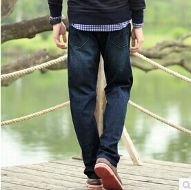 ФОТО Winter Autumn Thicken Cargo Pants Casual Cotton Denim Jeans Outdoor Loose Plus Size 29-44 Trousers Men's Clothing Brand A0815