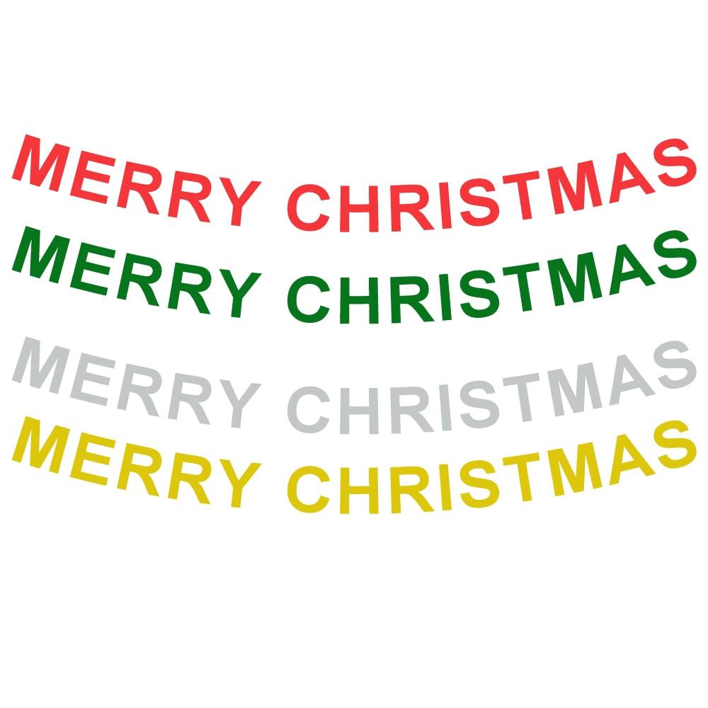 100 set 4 di Colore Lunghezza = 3.2 metro Hollow Lettera Buon Natale Banner Per Il 2018 Festa Di Natale Della Decorazione Lettera del Hight = 13.5 cm