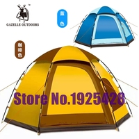 Outdoor six angle full automatic tent spring rod camping tents free to build a single layer of 3 4 people 5 people's Congress