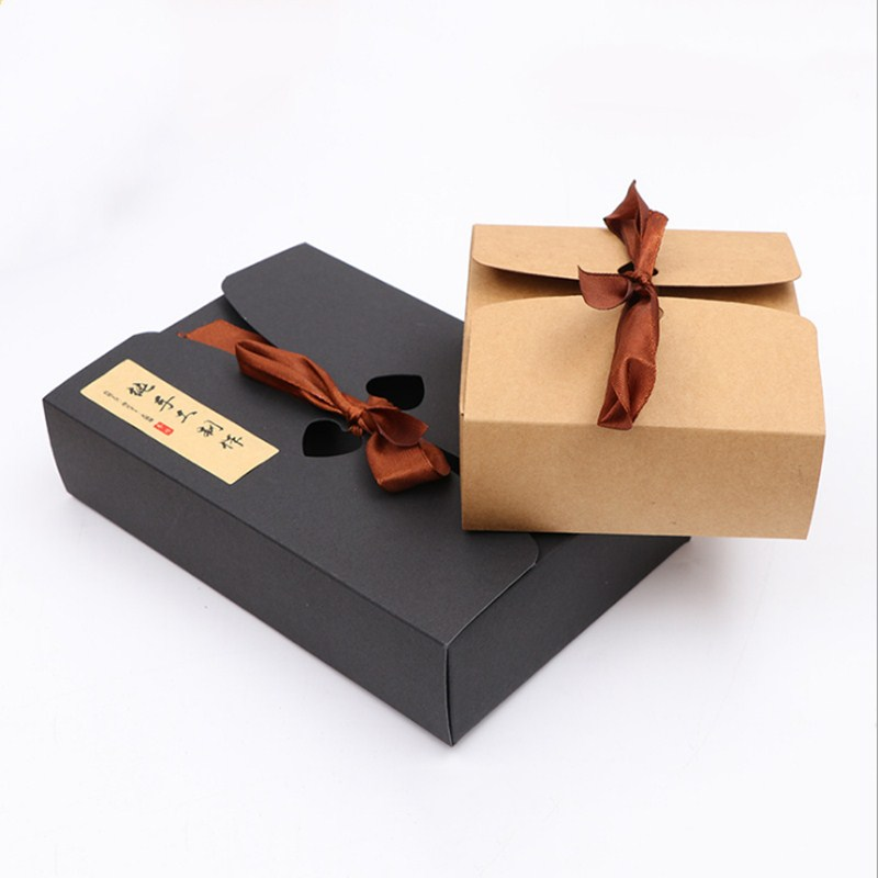 New DIY 5pcs best selling black and Kraft boxes with ribbon,wedding favor boxes,baby shower favor boxes,party gift boxes