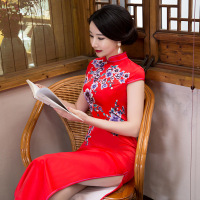 Fengmeisi chinese traditional women vintage print cheongsam long qipao oriental dress elegant formal evening silk clothes P3189