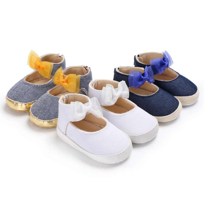 0-18M Newborn Baby Girl Shoes Canvas Cotton Soft Non-Slip Bow Princess Girl Toddler Shoes Spring Childrens Casual Shoes