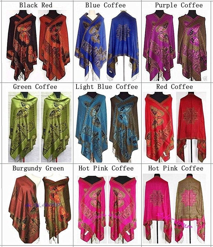 Wholesale Chinese Women Ethnic Pashmina   Scarves   Two Side Butterfly Muffler Reversible   Scarf     Wrap   Shawl Mujere Bufanda Chal