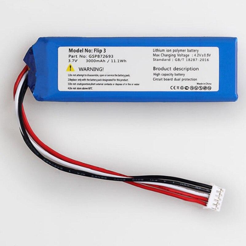 Аккумулятор для JBL Flip 3 плеера новый литий-полимерный перезаряжаемый аккумулятор замена GSP872693 3,7 V 3000mAh + трек-код