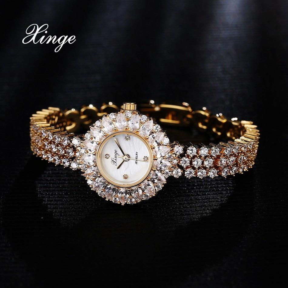 Xinge Brand Dress Women Watch Zircon Luxury Bracelet Rhinestone Water Wristwatches Ladies Fashion Classic Quartz Watch XG1003 xinge brand women quartz bracelet wristwatches women ladies dress watch with gift box jewelry watch set female wrist watch