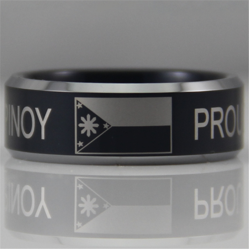 Free Shipping USA UK Canada Russia Brazil Hot Sales 8MM Black Proud Pinoy Filipino Flag Design Tungsten Comfort Fit Ring