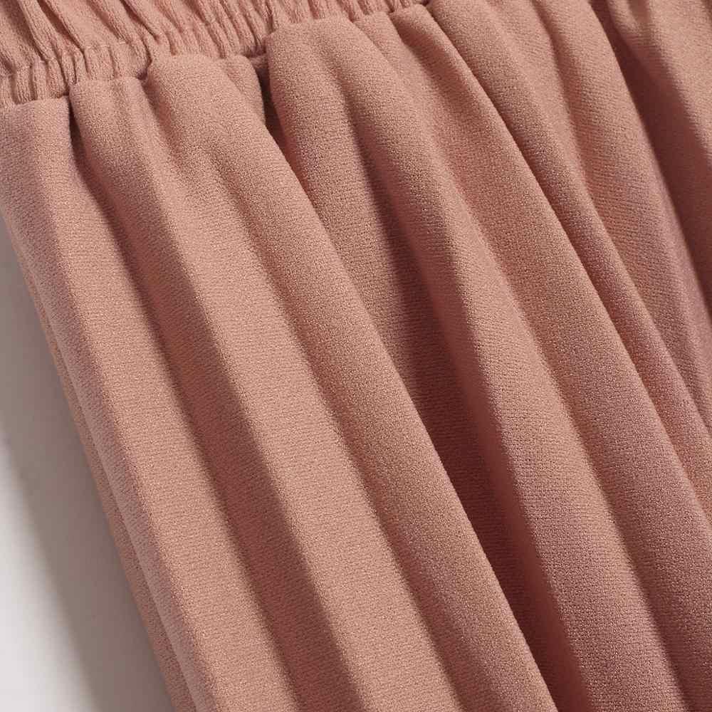 Wixra/2019 Новые однотонные плиссированные юбки с высокой талией, трапециевидная удлиненная юбка, летняя и осенняя женская нижняя одежда
