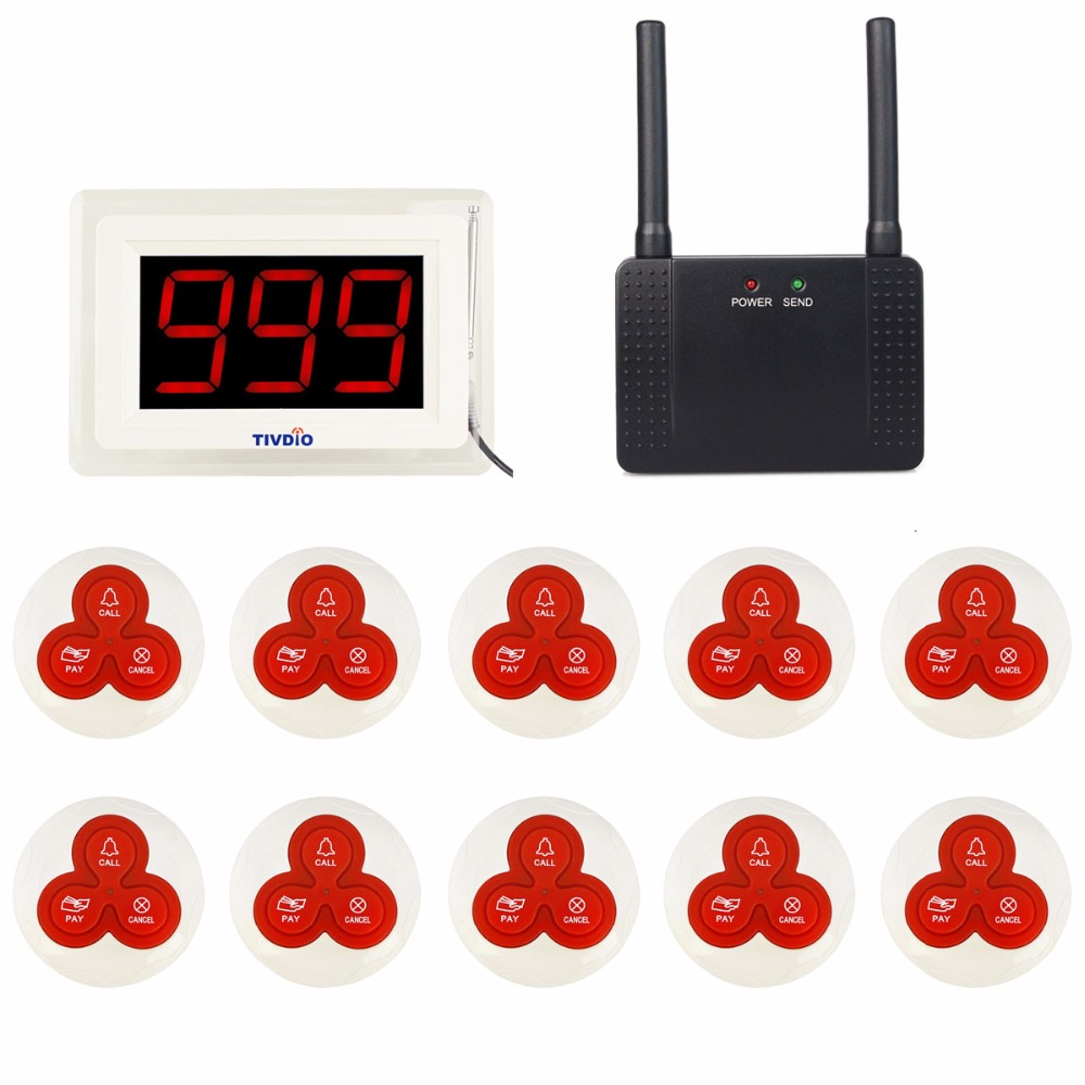 TIVDIO Wireless Restaurant Calling Paging System 2 Receiver Display Host+10 Call Pager +1 Repeater Signal Amplifier 433MHz F9405 20pcs transmitter button 4pcs watch receiver 433mhz wireless restaurant pager call system restaurant equipment f3291e