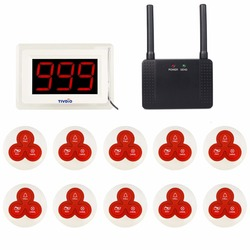 TIVDIO Wireless Restaurant Calling Paging System 2 Receiver Display Host+10 Call Pager +1 Repeater Signal Amplifier 433MHz F9405