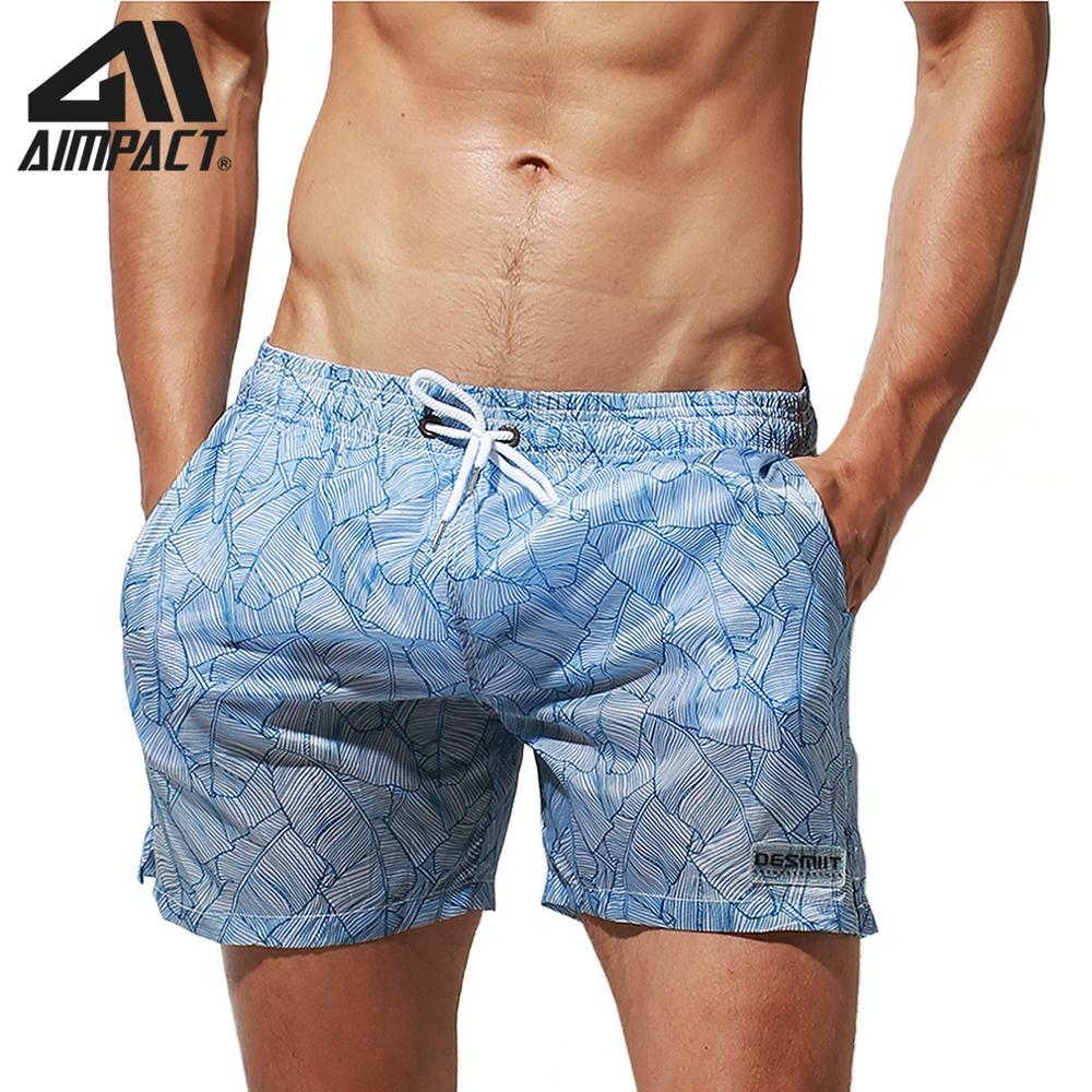 Aimpact Fast Dry Tropical Board Shorts For Men Light Weight Sexy Swim Short Trunks Summer Surf Beachwear Sport Running Waterwear