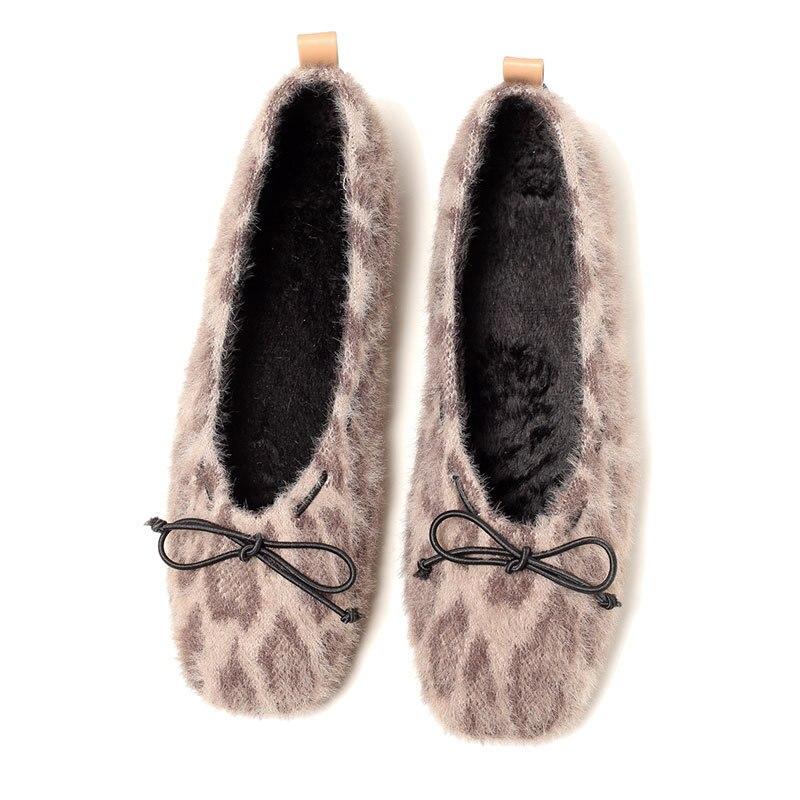 Arc Tendance Léopard Peluche Femmes En Chaussures 2019 Confortable Chaussures Casual Printemps b Sauvage Nouveau A Décoratif Plat Mode wfnqn4S7