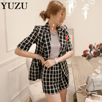 Summer Wear New Two Piece Double Breasted Coat Grid Pants Suit