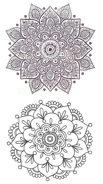 Waterproof Temporary Tattoo Sticker Sexy Lotus Henna Mandala Totem