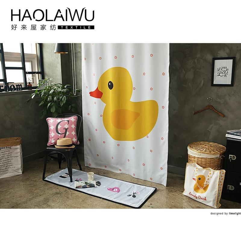 Hot sales 3d print kind kleine gele eend gedrukt verduisteringsgordijn voor woonkamer slaapkamer cortinas para living gordijnen kamer