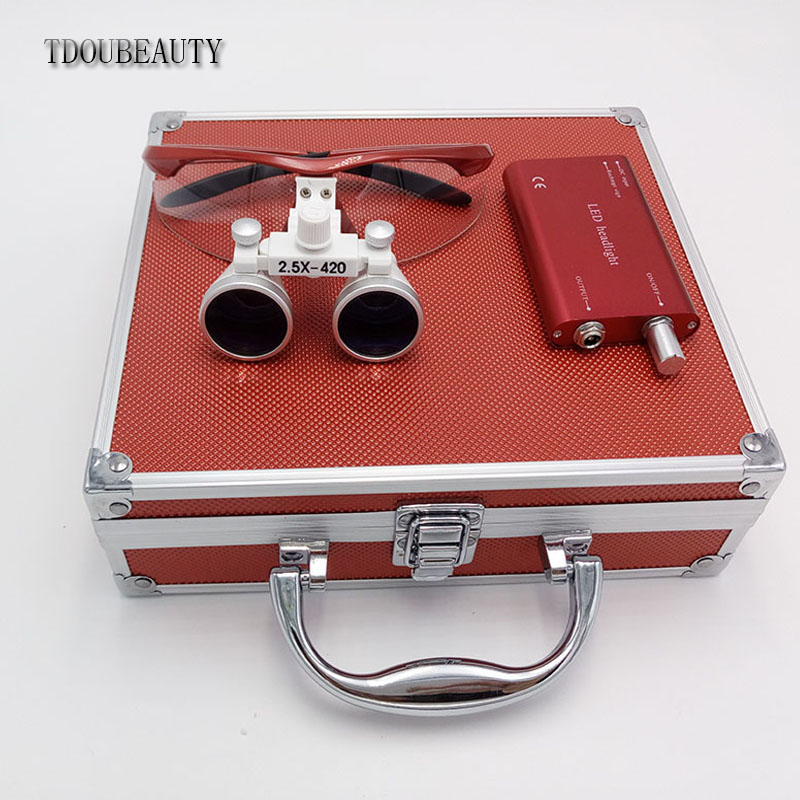 TDOUBEAUTY New 2.5x 420mm Surgical Binocular Loupes +Head Light Lamp +Aluminum Box(Ruby red) Free Shipping tdoubeauty 3 5x 420mm dental surgical medical binocular loupes color random led head light lamp free shipping