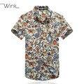 Los hombres de Algodón de Impresión Camisas de Manga Corta Slim Fit Tamaño Grande 5XL Verano Casual Camisa Masculina Sociales Blusa Alta Calidad S49