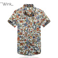 Men Cotton Print Shirts Short Sleeve Slim Fit Big Size 5XL Summer Casual Camisa Social Masculina Blouse High Quality S49
